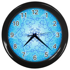 Design Winter Snowflake Decoration Wall Clocks (Black) by Nexatart