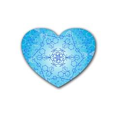 Design Winter Snowflake Decoration Heart Coaster (4 Pack)