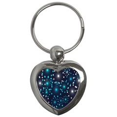 Digitally Created Snowflake Pattern Key Chains (heart)