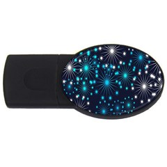 Digitally Created Snowflake Pattern Usb Flash Drive Oval (2 Gb) by Nexatart