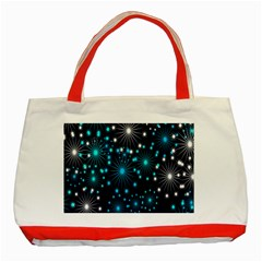 Digitally Created Snowflake Pattern Classic Tote Bag (Red) by Nexatart