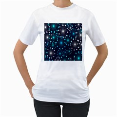Digitally Created Snowflake Pattern Women s T Shirt (white)