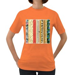 Digitally Created Collage Pattern Made Up Of Patterned Stripes Women s Dark T-Shirt