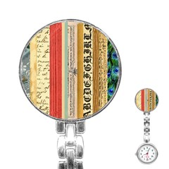 Digitally Created Collage Pattern Made Up Of Patterned Stripes Stainless Steel Nurses Watch