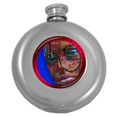 Display Dummy Binary Board Digital Round Hip Flask (5 Oz)