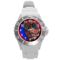 Display Dummy Binary Board Digital Round Plastic Sport Watch (l) by Nexatart