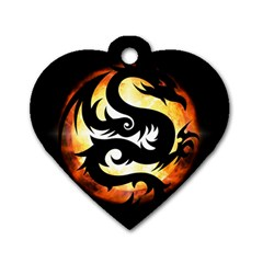 Dragon Fire Monster Creature Dog Tag Heart (one Side)