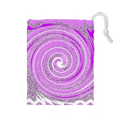 Digital Purple Party Pattern Drawstring Pouches (large)