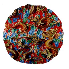 Dragons China Thailand Ornament Large 18  Premium Flano Round Cushions by Nexatart