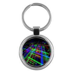 Electronics Board Computer Trace Key Chains (round)  by Nexatart