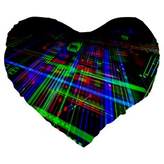 Electronics Board Computer Trace Large 19  Premium Flano Heart Shape Cushions by Nexatart