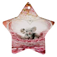 Elephant Heart Plush Vertical Toy Star Ornament (two Sides) by Nexatart
