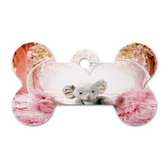 Elephant Heart Plush Vertical Toy Dog Tag Bone (two Sides)