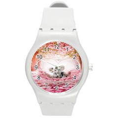 Elephant Heart Plush Vertical Toy Round Plastic Sport Watch (m)