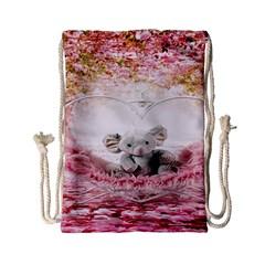 Elephant Heart Plush Vertical Toy Drawstring Bag (small) by Nexatart