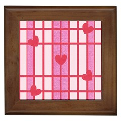 Fabric Magenta Texture Textile Love Hearth Framed Tiles by Nexatart