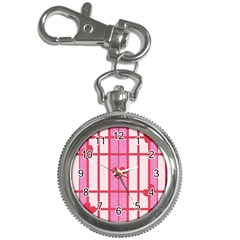 Fabric Magenta Texture Textile Love Hearth Key Chain Watches