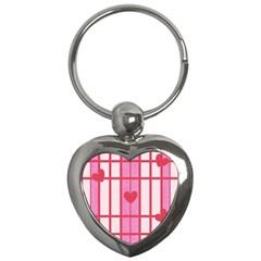 Fabric Magenta Texture Textile Love Hearth Key Chains (heart)  by Nexatart