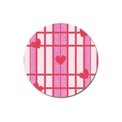 Fabric Magenta Texture Textile Love Hearth Magnet 3  (round)