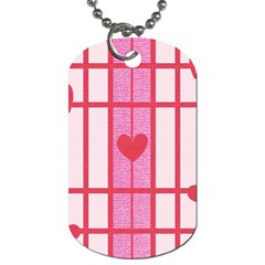Fabric Magenta Texture Textile Love Hearth Dog Tag (two Sides) by Nexatart
