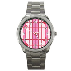 Fabric Magenta Texture Textile Love Hearth Sport Metal Watch by Nexatart