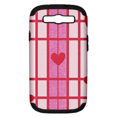 Fabric Magenta Texture Textile Love Hearth Samsung Galaxy S Iii Hardshell Case (pc+silicone) by Nexatart