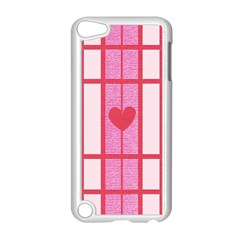 Fabric Magenta Texture Textile Love Hearth Apple Ipod Touch 5 Case (white) by Nexatart