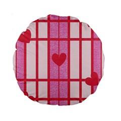 Fabric Magenta Texture Textile Love Hearth Standard 15  Premium Round Cushions
