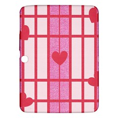 Fabric Magenta Texture Textile Love Hearth Samsung Galaxy Tab 3 (10 1 ) P5200 Hardshell Case