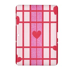 Fabric Magenta Texture Textile Love Hearth Samsung Galaxy Tab 2 (10 1 ) P5100 Hardshell Case  by Nexatart