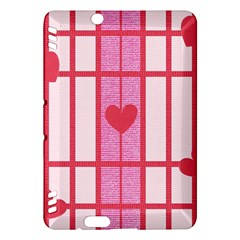Fabric Magenta Texture Textile Love Hearth Kindle Fire HDX Hardshell Case by Nexatart