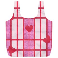 Fabric Magenta Texture Textile Love Hearth Full Print Recycle Bags (l)  by Nexatart