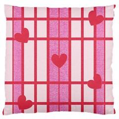 Fabric Magenta Texture Textile Love Hearth Standard Flano Cushion Case (one Side) by Nexatart