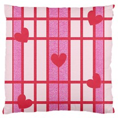 Fabric Magenta Texture Textile Love Hearth Large Flano Cushion Case (two Sides) by Nexatart