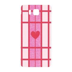 Fabric Magenta Texture Textile Love Hearth Samsung Galaxy Alpha Hardshell Back Case by Nexatart