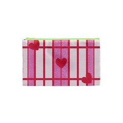 Fabric Magenta Texture Textile Love Hearth Cosmetic Bag (xs) by Nexatart