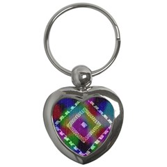 Embroidered Fabric Pattern Key Chains (heart)  by Nexatart