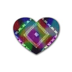 Embroidered Fabric Pattern Rubber Coaster (heart)