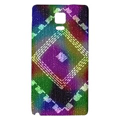 Embroidered Fabric Pattern Galaxy Note 4 Back Case by Nexatart