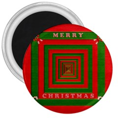Fabric 3d Merry Christmas 3  Magnets by Nexatart