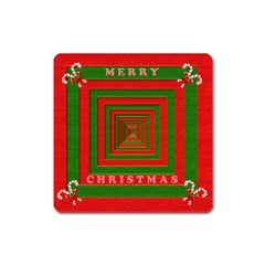 Fabric 3d Merry Christmas Square Magnet by Nexatart