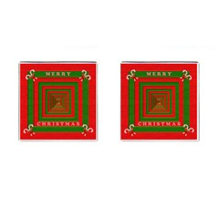 Fabric 3d Merry Christmas Cufflinks (square) by Nexatart