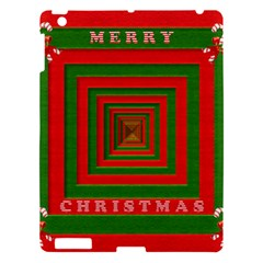 Fabric 3d Merry Christmas Apple Ipad 3/4 Hardshell Case by Nexatart