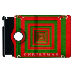 Fabric 3d Merry Christmas Apple Ipad 3/4 Flip 360 Case
