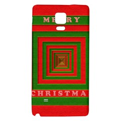Fabric 3d Merry Christmas Galaxy Note 4 Back Case by Nexatart
