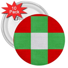 Fabric Christmas Colors Bright 3  Buttons (10 Pack)