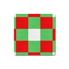 Fabric Christmas Colors Bright Square Magnet by Nexatart