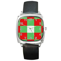 Fabric Christmas Colors Bright Square Metal Watch by Nexatart