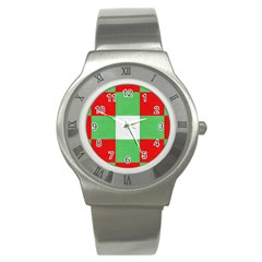 Fabric Christmas Colors Bright Stainless Steel Watch by Nexatart