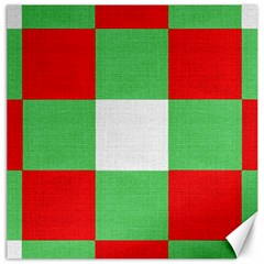 Fabric Christmas Colors Bright Canvas 16  X 16   by Nexatart